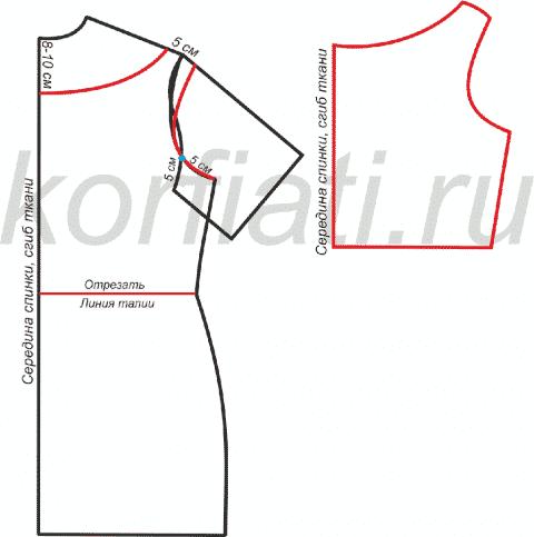 Платье без рукавов - лиф спинки