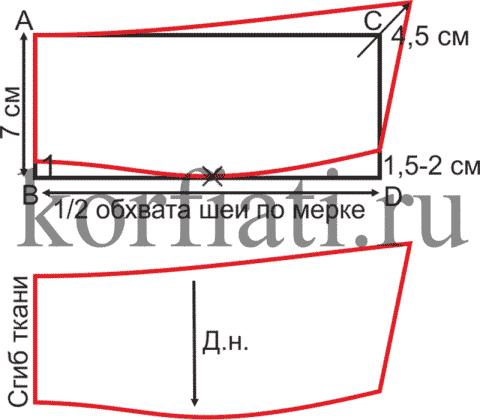 Выкройка воротника в открытом вороте - чертеж