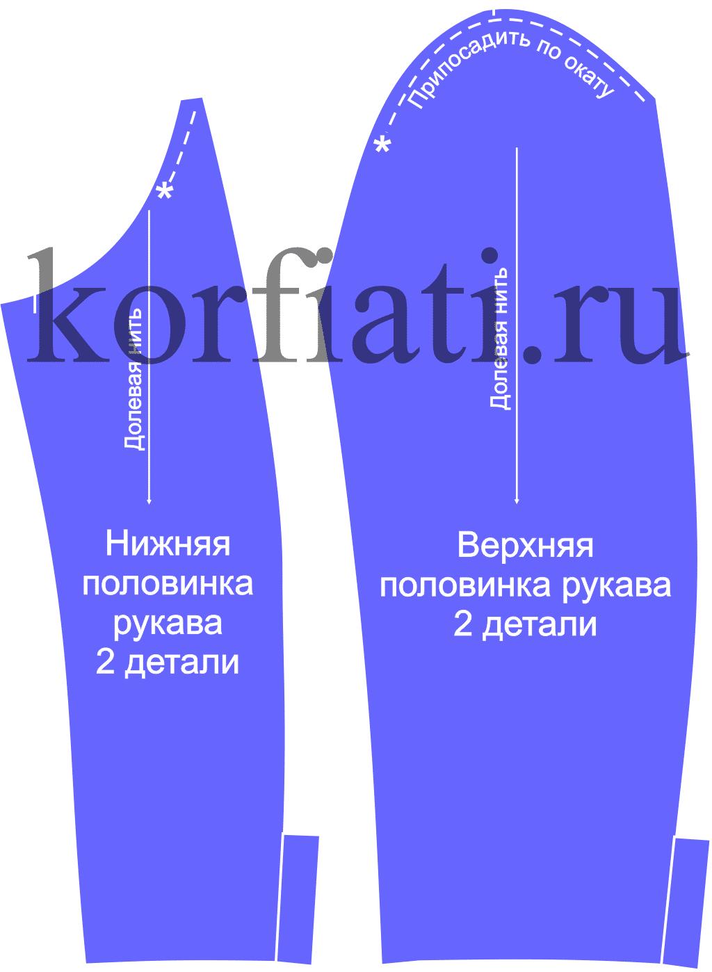 схема сборки рукава с отложной манжетой