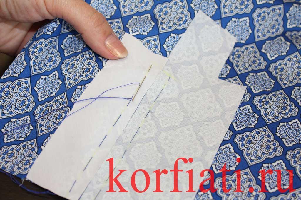 Обработка разреза рукава планкой - приметать планку и обтачку