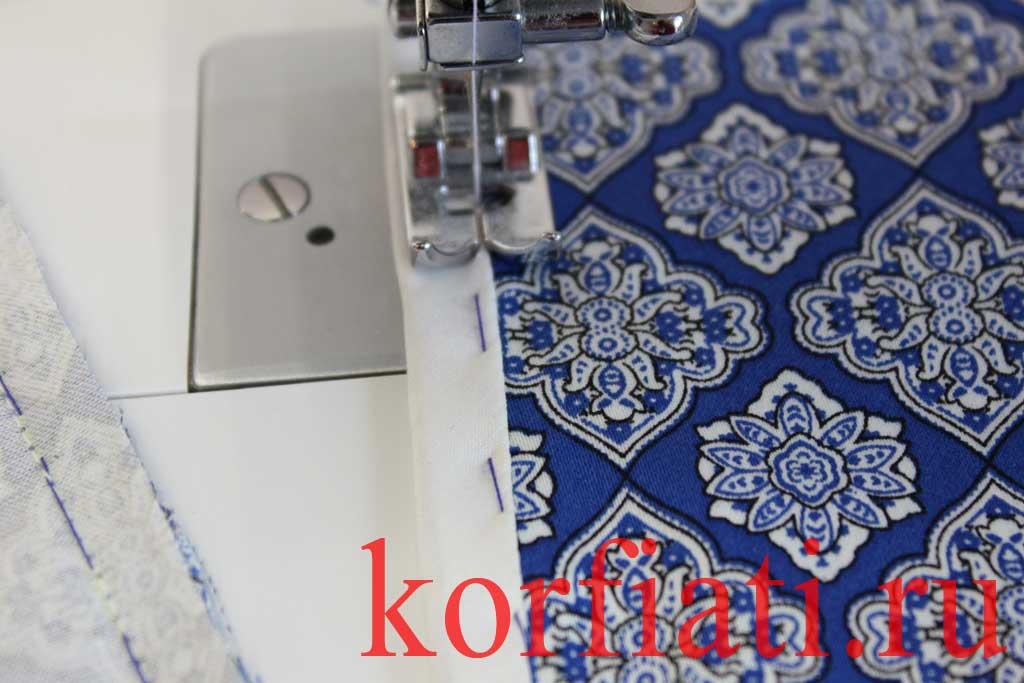 Обработка разреза рукава планкой - отстрочка косой обтачки