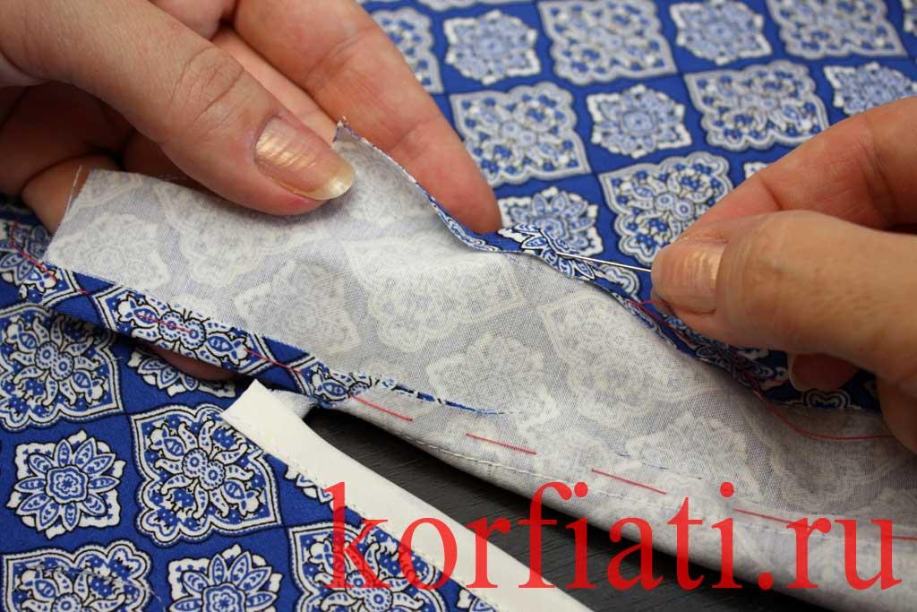 Обработка разреза рукава планкой - подгиб планки