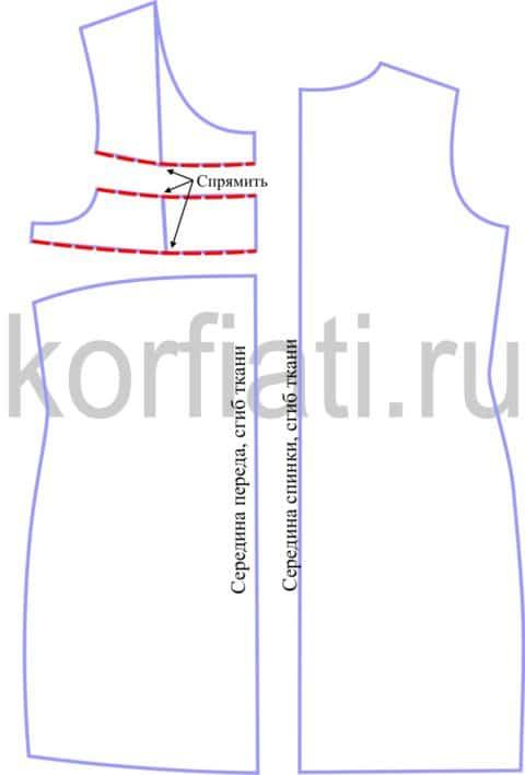 Выкройка прямого платья с рукавом - детали