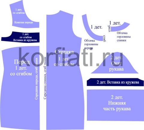 Выкройка прямого платья с рукавом - детали кроя