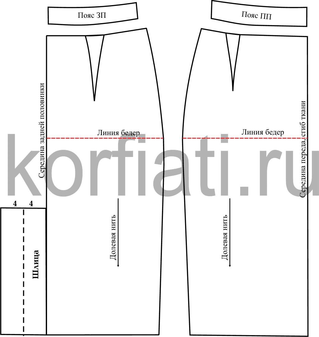 ca4c3f8d5156546 Выкройка юбки карандаш – моделирование шлицы и пояса