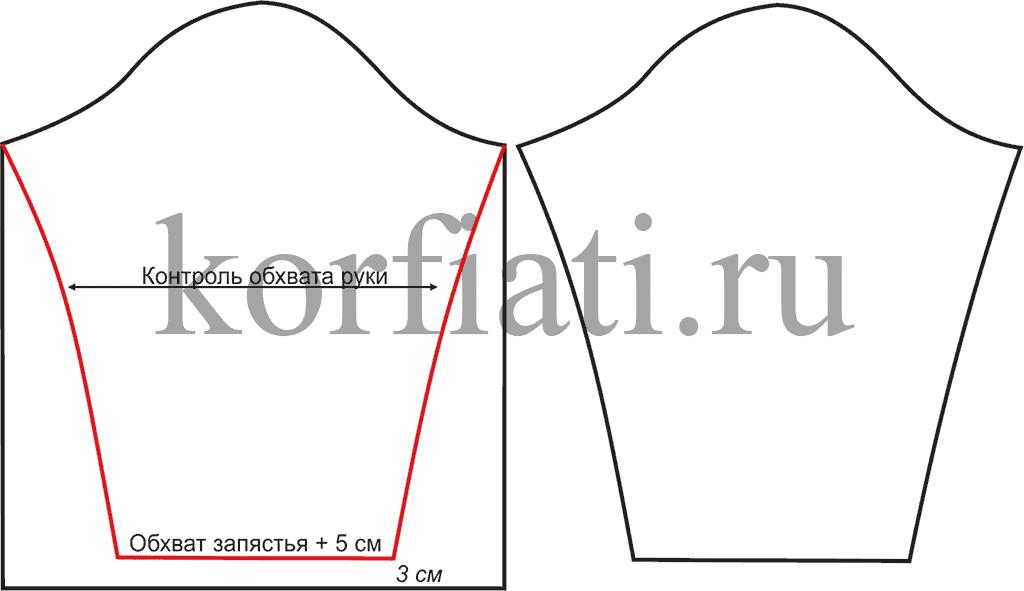 Выкройка женской толстовки – моделирование рукава