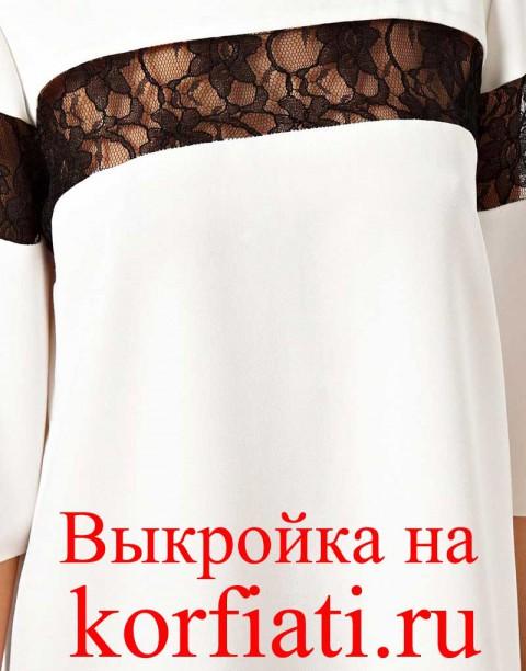 Выкройка прямого платья с рукавом - вид спереди