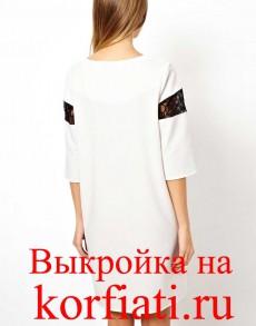 Выкройка прямого платья с рукавом - вид сзади