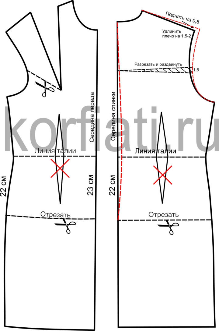 Чертеж выкройка полочки и спинки дубленки