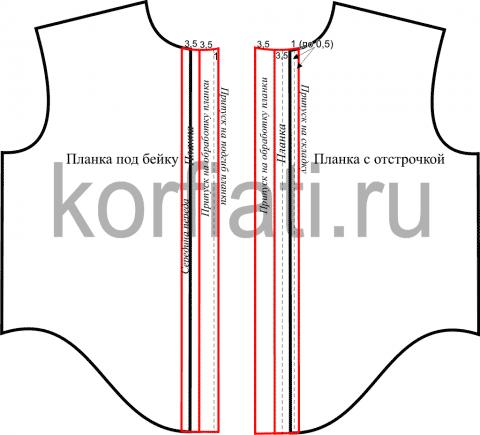Планка на мужскую рубашку - чертеж