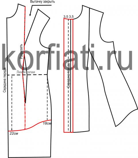 Выкройка блузки с рукавом фонарик