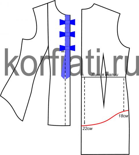 Выкройка блузки с рукавом фонарик - планка и спинка