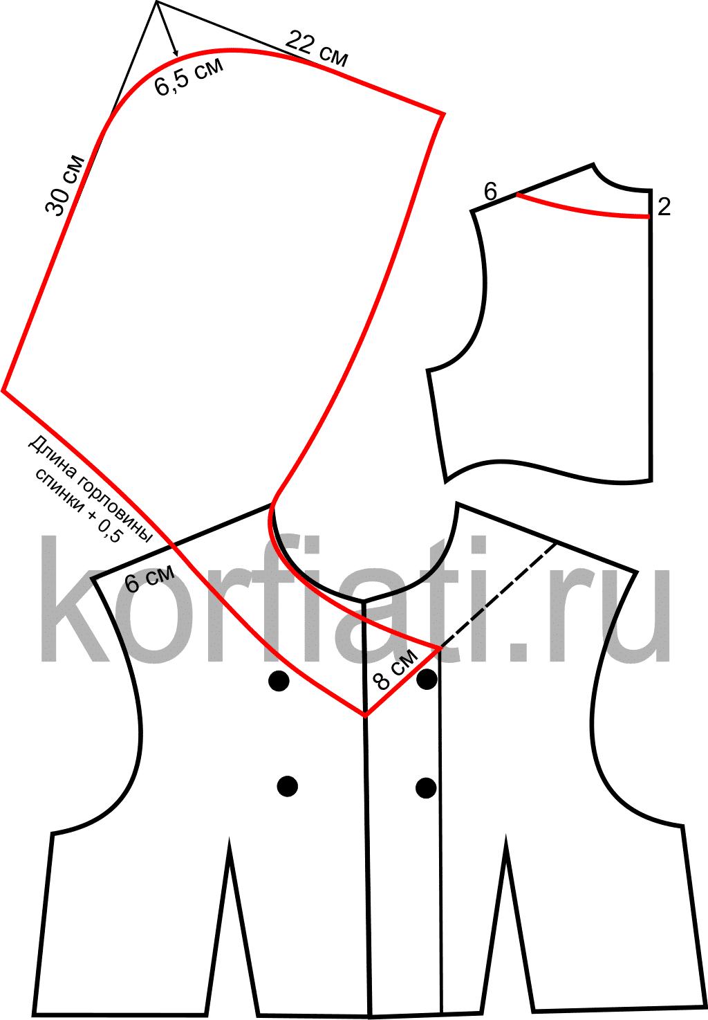 Выкройка воротника треугольный фото 561