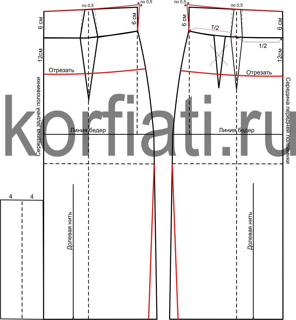 Выкройка юбки с поясом корсетом - чертеж