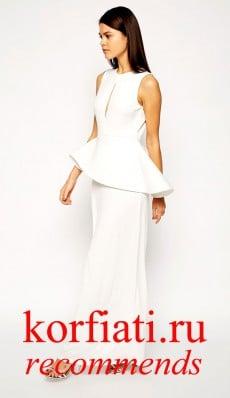 Платье на новый год 2015 - белое с баской
