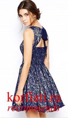 Платье на новый год 2015 - синее кружево