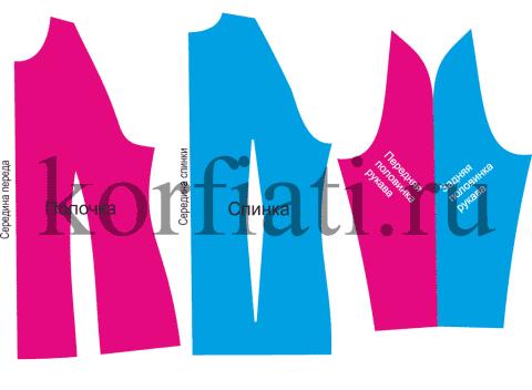 Выкройка рукава полуреглан - детали кроя рукава с вытачкой