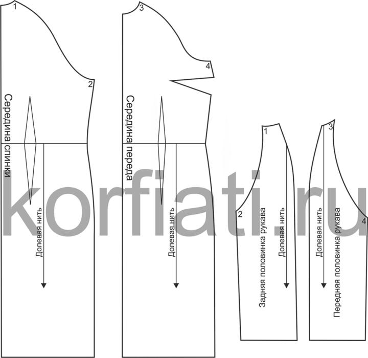 Выкройка изделия с рукавом реглан - детали кроя