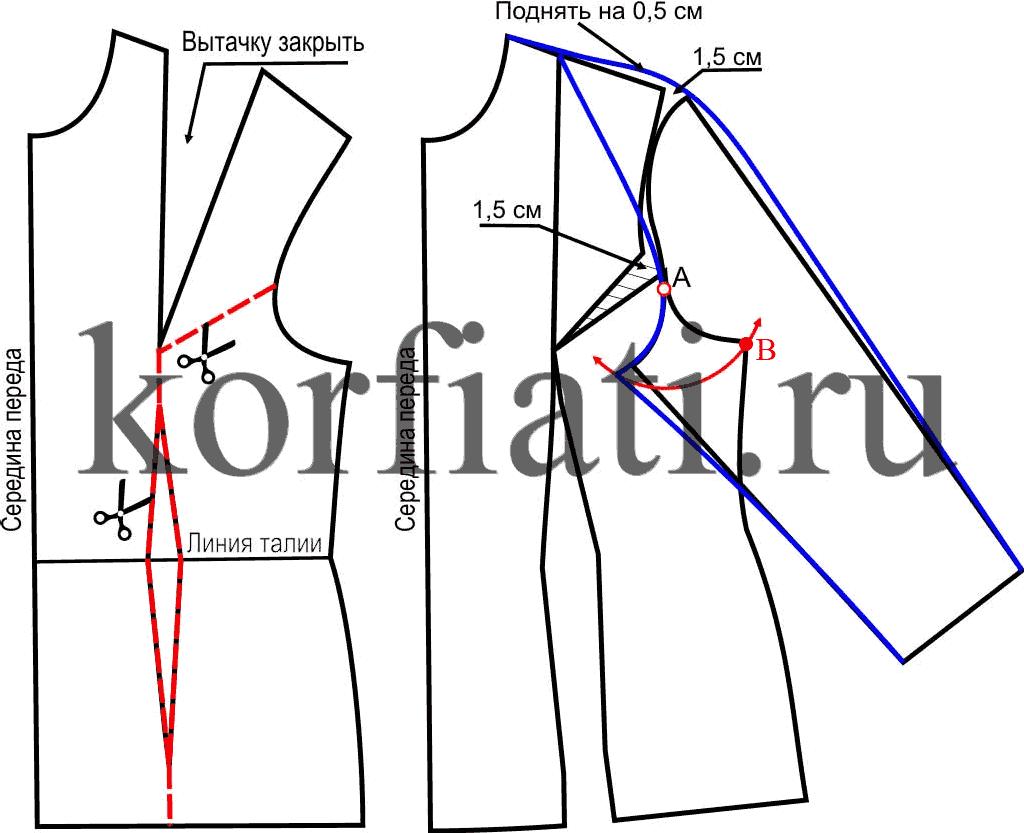 Выкройка рукава полуреглан - моделирование переда