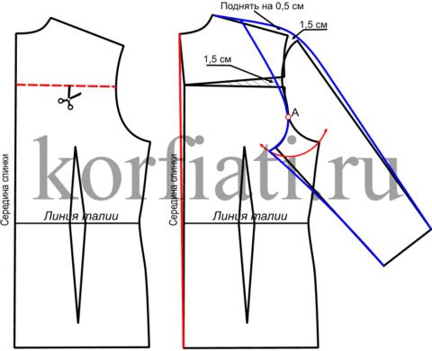 Выкройка рукава полуреглан - спинка