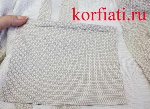 Прорезной карман в рамку мастер-класс - пристрочить мешковину из основной ткани