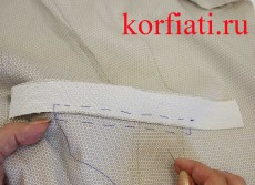 Прорезной карман в рамку с двумя обтачками - приметывание обтачки