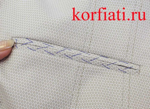 Прорезной карман в рамку мастер-класс - приметать обтачки по центру