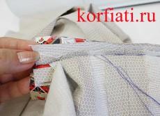 Прорезной карман в рамку мастер-класс - приметать мешковину из подкладки