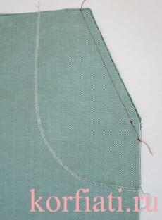 Карман с отрезным бочком - притачать мешковину ко входу в карман