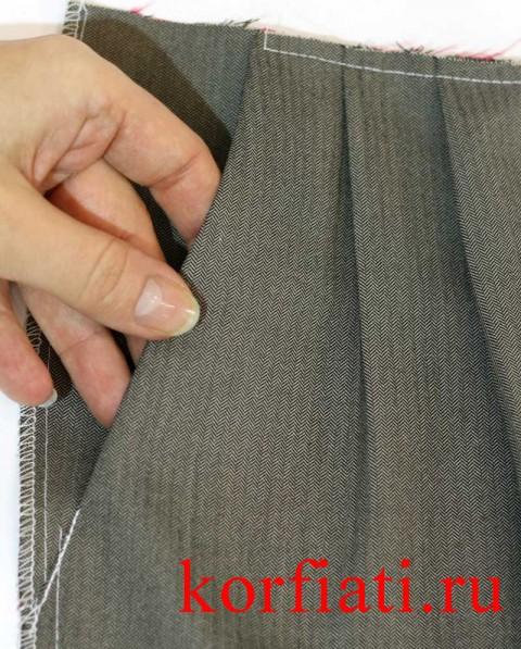 Карман мужских брюк с лицевой стороны