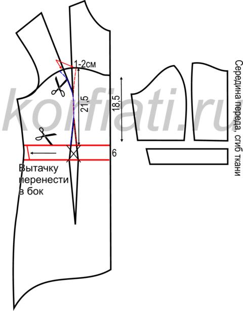 Выкройка платья на новый 2015 год  – моделирование лифа переда