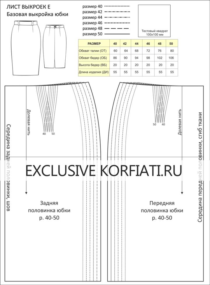 Эскиз листа выкроек базовой выкройки юбки