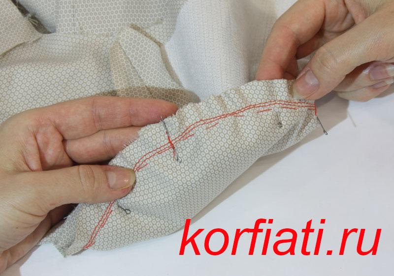 Вшиваем рукав по контрольным меткам