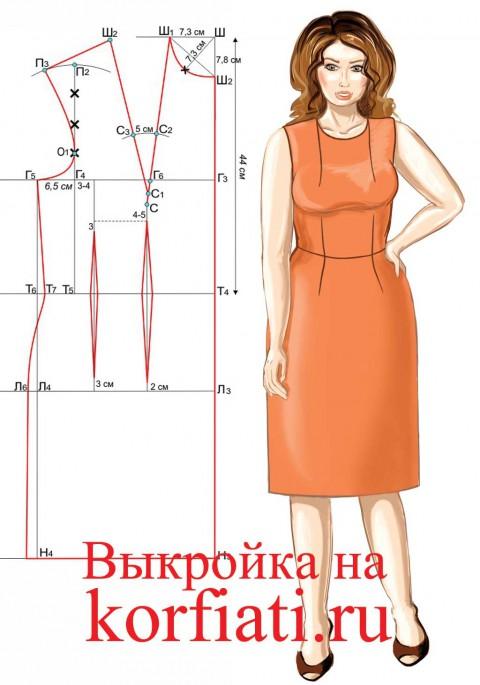 Выкройка платья на большой размер