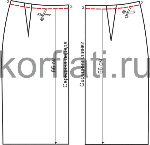 Моделирование выкройки  юбки с широким поясом