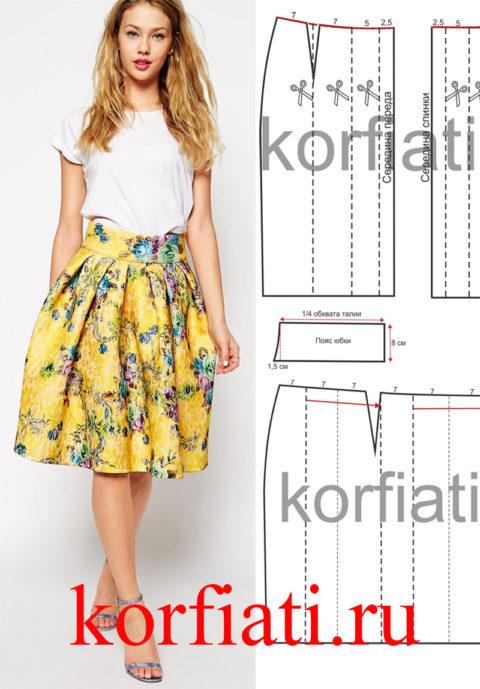Выкройка юбки с широким поясом