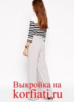 Выкройка широких брюк - вид сзади