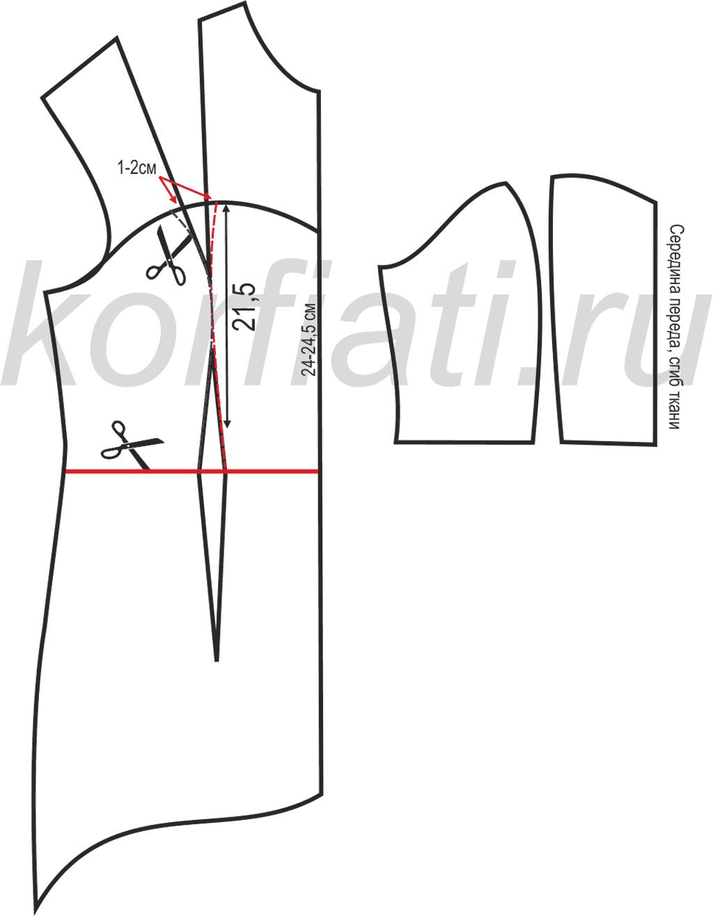 Шьем платье с воланами - выкройка лифа переда