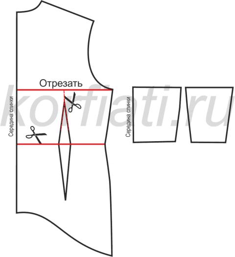 Шьем платье с воланами - выкройка лифа спинки