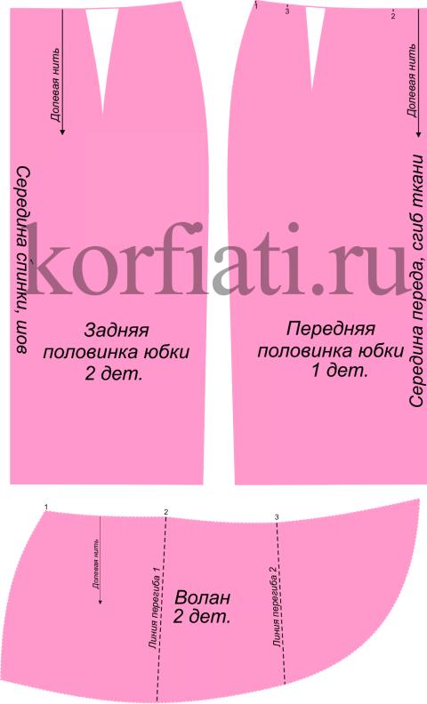 Детали кроя юбки с воланом