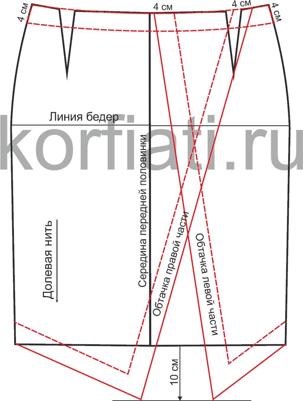 Ассиметричная юбка с выкройкой