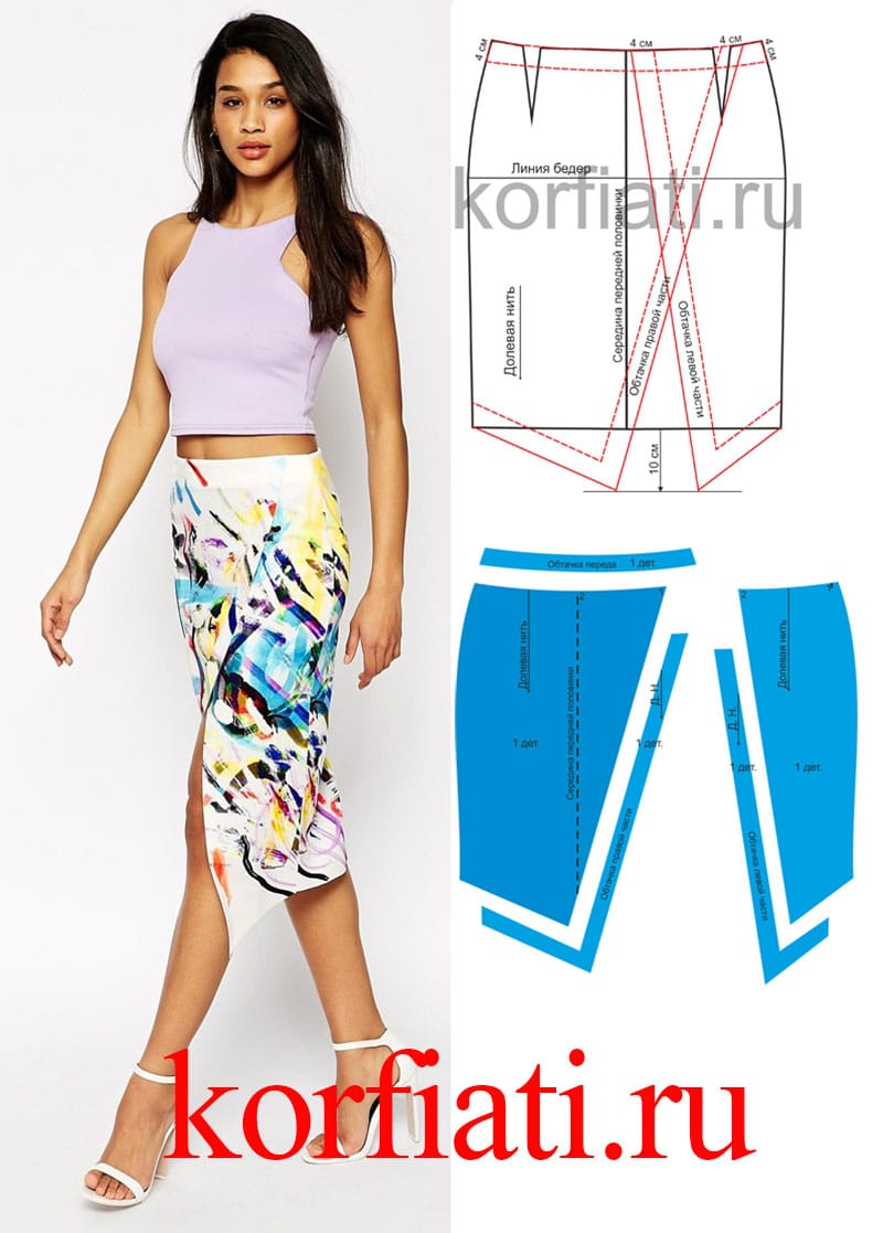 Выкройка асимметричной юбки от Анастасии Корфиати