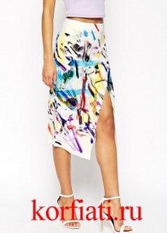 Выкройка асимметричной юбки - перед