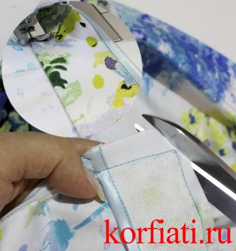 Обработка верха юбки обтачкой