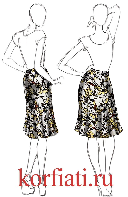 Выкройка юбки шестиклинки - эскиз модели