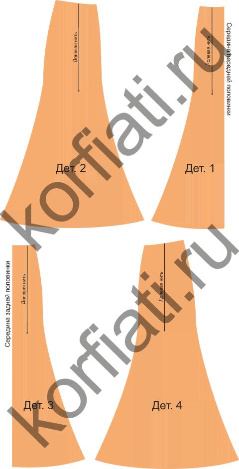 Выкройка юбки шестиклинки - детали кроя