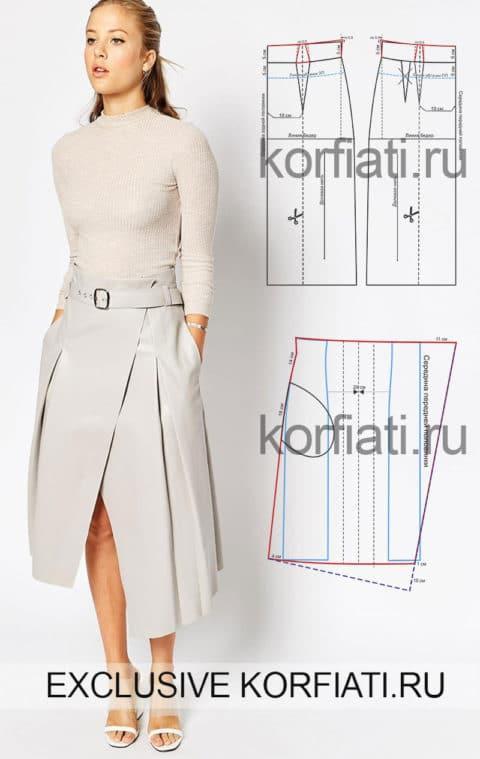 Расклешенная юбка со складками
