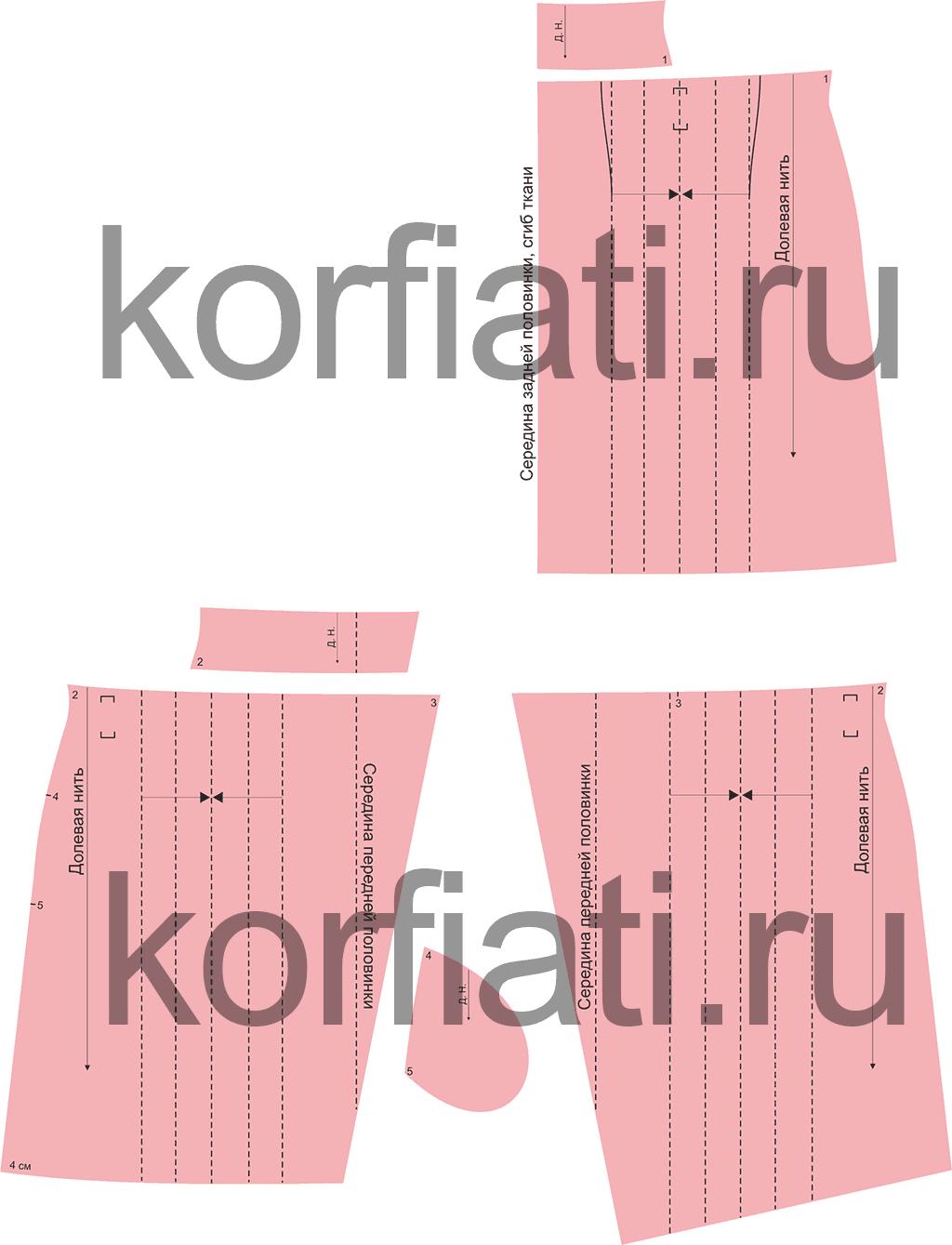 Выкройка расклешенной юбки - детали кроя