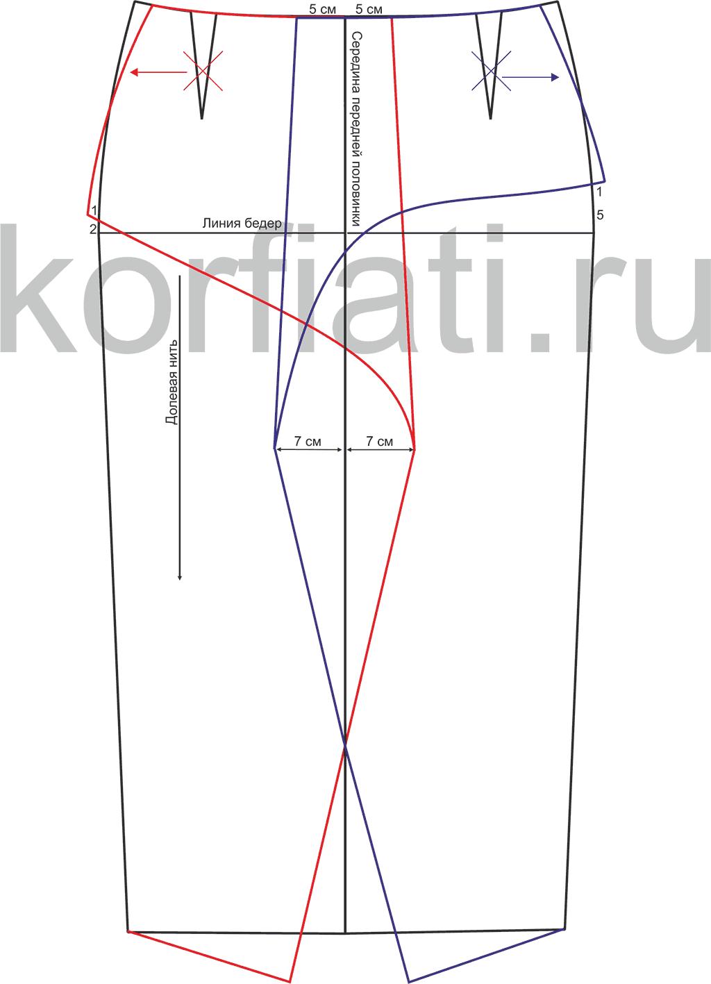 68003d3e367b8cd Выкройка юбки без пояса от Анастасии Корфиати