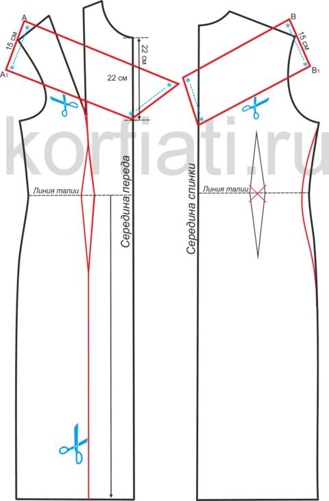Выкройка длинного платья с открытыми плечами